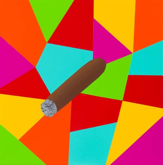 Magic charm (cigar) / 30 x 30 cm. Acrylic on linen. 2012