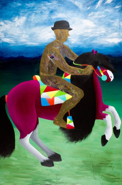 Self-portrait after Velazquez (The Golden Rider) / 195 x 130 cm. Acrylic on canvas. 2011