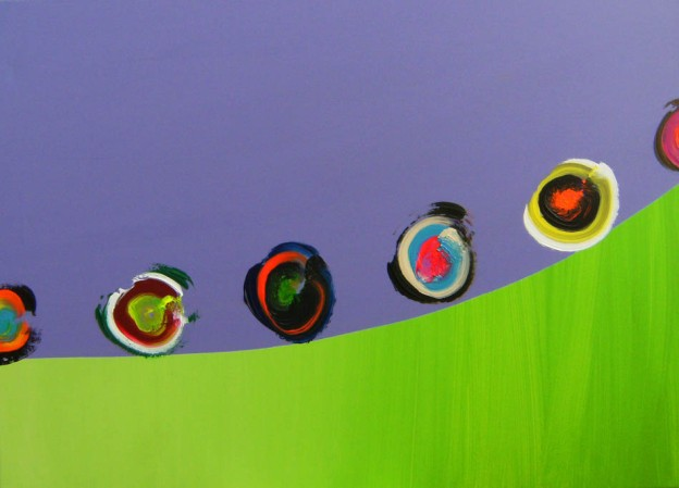 Six circles rolling down a hillside